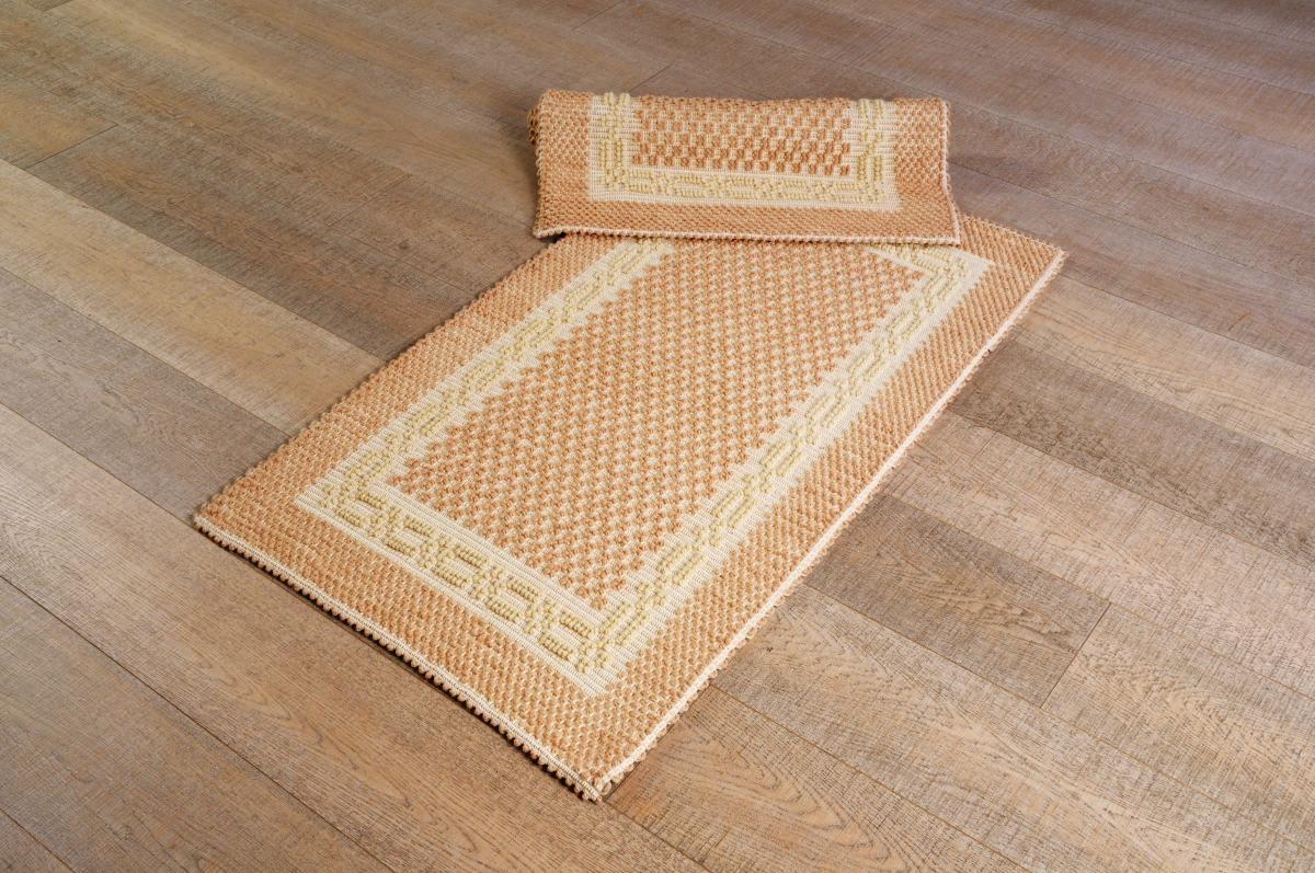 Art-4 scendiletto lana greca panna e cipria